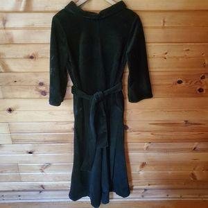 1970s Penney Loungewear Black Velour Jumpsuit
